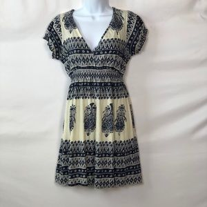 Lucky Brand Paisley Blue & Cream Dress Sz M